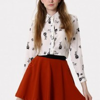 Rabbit Print Peter Pan Collar Shirt