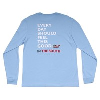 Custom Every Day Should Feel This Good in The South Long Sleeve Tee Shirt in Jake Blue by Vineyard Vines
