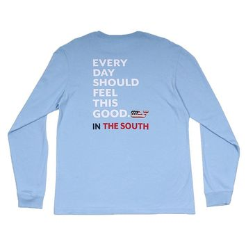 Custom Every Day Should Feel This Good in The South Long Sleeve Tee Shirt in Jake Blue by Vineyard Vines - FINAL SALE
