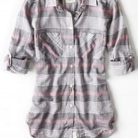 AEO Women's Plaid Boyfriend Shirt