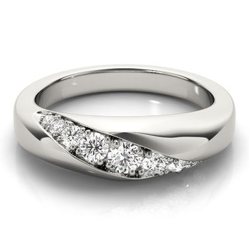Wedding Band - Diagonal Pave Diamond Wedding Band