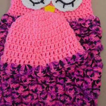 Newborn owl cocoon - baby girl  photo prop- crochet girl owl cocoon - owl photo prop