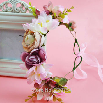 2016 Women Newest Wedding flower Headband Kids Party Floral garland with Ribbon Adjustable girls flower crown Rose Flower Wreath