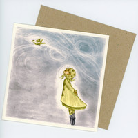 Girl Watching Bird in the Sky Greeting card 15x15cm by zirkulas