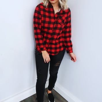 Have A Little Fun Flannel: Black/Red
