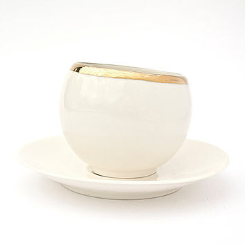 Ceramic Hand Sculpted Cup and Saucer with Gold Rim