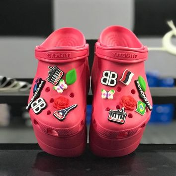 Balenciaga Crocs Red Foam Platform Sandals Charms Embellished Resin Wedge Clogs - Best Online Sale