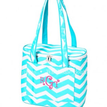 Personalized monogram insulated cooler tote by AfterNineDesigns