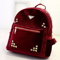 Fashion Rivet Velvet Backpack