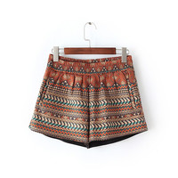 Casual Geometric Print Faux Suede Leather Shorts