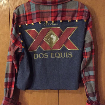 Vintage Cerveza Dos Equis tee and plaid flannel combo crop shirt with gold studs ladies medium