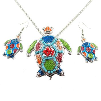 Colorful Sea Turtle Dangle Earrings and Beaded Necklace 2 Piece Set in Silver