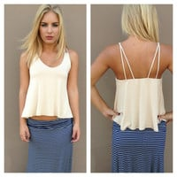 Cream Soft Double Strap Tank