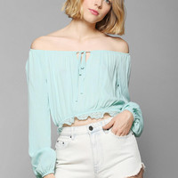 Pins And Needles Cropped Gauze Blouse - Urban Outfitters