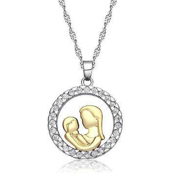 Golden Mom Loves Child Fashion AAA Zircon Charm Necklaces & Pendants Bijoux Femme Mothers Day Gift For Mom Family Jewelry