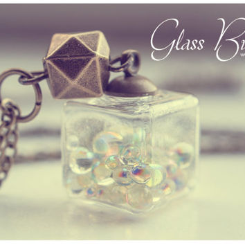 Glass cube necklace, bubbles necklace, glass necklace, glass pendant, glass bottle necklace, glass square necklace, iridescent bubbles
