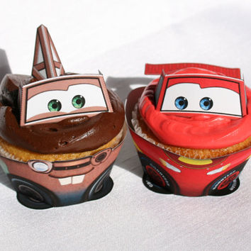 Disney Cars - Inspired Lightning McQueen and Mater Cupcake Wrapper Set (Instant Download)