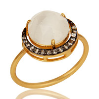 18K Yellow Gold Plated Sterling Silver CZ & White Moonstone Stack Designer Ring