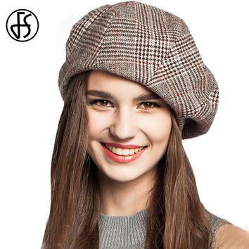 FS Winter French Artist Beret Hat For Female College Fashion Black Blue Brown Plaid Wool Berets Painter Cap Octagonal Caps
