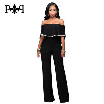Summer Black Jumpsuit Women Strapless Off Shoulder Sexy Ruffles Rompers Casual Long Pants Back Zipper Rompers Womens Jumpsuit
