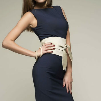 Dark Blue Knee Length Formal With Belt Women's Dress Evening.