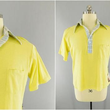 1970s Vintage / Yellow Golf Shirt / Polo Shirt / Plaid Collar / McGregor Competitors /