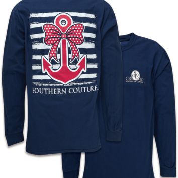 Southern Couture Preppy Nautical Bow Anchor Comfort Colors Long Sleeve T-Shirt