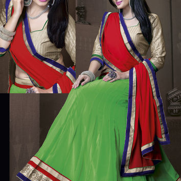 Women's Georgette Fabric Parrot Green Color Pretty Unstitched Lehenga Choli With Lace Work Dupatta