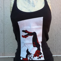 Thin Strap Tank with Original Screenprinted Design of Harley Quinn