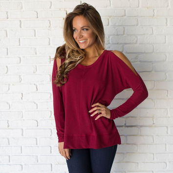 On Cloud Nine Open Shoulder Sweater In Burgundy