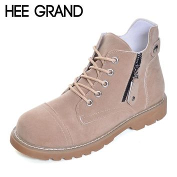 HEE GRAND Ankle Boots Women Lace-up Leisure Shoes Easy Collocation Women Oxford Bottom Autumn Women Worker Boots  XWX6317