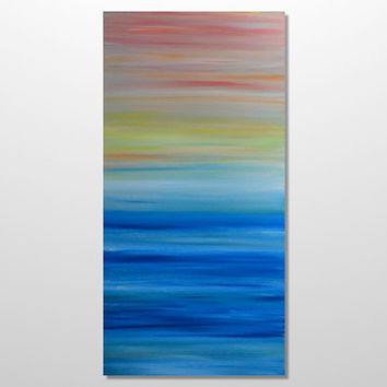 Original Abstract Seascape Sunset Ocean Painting - Modern Canvas Acrylic Wall Art - Blue, Yellow, Red - Large Vertical 18 x 36: Sunset Point
