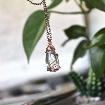 Quartz Crystal Jewelry - Crystal Necklace - Clear Quartz Drop - Wire Wrapped Stone Pendant - Wiccan Jewelry - Bohemian Jewelry Boho Necklace