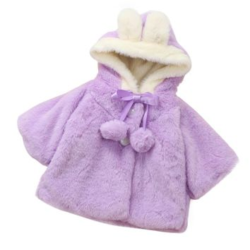 6-24M Winter Baby Girls cute Outerwear Hooded Coat Kids Fleece Snow Warm Cloak Coat Cloak Jacket Thick Clothes 3Colors