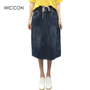 Elastic Waist Summer Jeans Skirt Women Jupe Slit Back Pockets Denim Skirts Female Faldas Casual A Line Mid Skirts WICCON