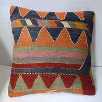 Cushion Cover Kilim Pillow Sham Decorative Throw Pillow 40x40 Ethnic Wool 16x16 Bohemian Vintage HandWoven Turkish Pillow Modern Home Decor