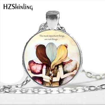 2017 New Arrival Three Sisters Best Friends Necklace Trendy Jewelry Art Best Friend Glass Dome Friendship Gifts Necklace HZ1