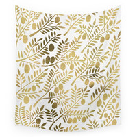 Society6 Gold Olive Branches Wall Tapestry