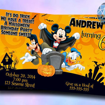 Halloween Birthday Party Mickey Design For Birthday Invitation on SaphireInvitations
