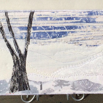Snow Scene - Postcard Art - Landscape Art - Outdoor Landscape - Nature Art - Quilt Postcard - Winter Snow Storm - Winter Landscape