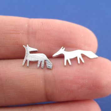 Running Red Fox Silhouette Shaped Stud Earrings in Silver