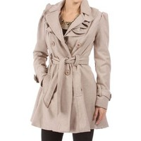 Beach Tan Ruffled Trench Coat