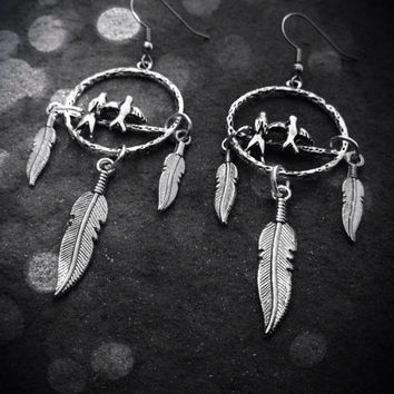 Dream Catcher Earrings - Love Birds