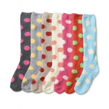 Fluffy Polka Dot Socks