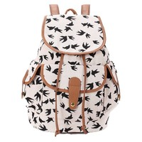 FunShop Women's Full Swallows Print Canvas School Bag Travel Backpack F1104