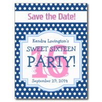 Save the Date Sweet 16 Birthday Party V001C BLUE Post Card