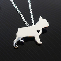 French Bulldog Necklace - Sterling Silver Necklace - Any Dog Breed Necklace - I heart French Bulldog - Pet Necklace - Best Friend Necklace