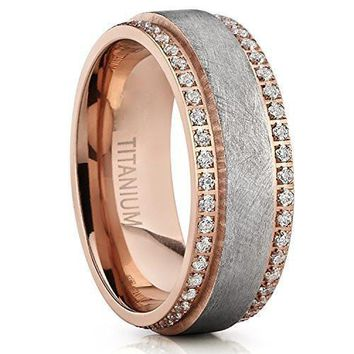 8mm Rose Gold Textured Brushed Finished Titanium Eternity Wedding Ring Band With Cubic Zirconia