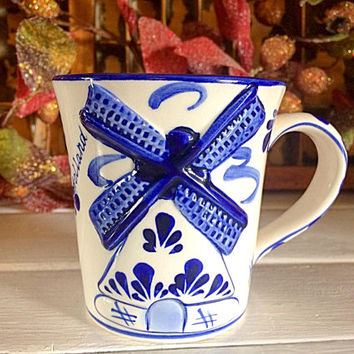 Delft Deco Mug, Vintage Delft Blue, Delft Windmill Mug, Holland Blue Delft, Holland Blue Teacup, Delft Collectible, Delft Holiday Mug