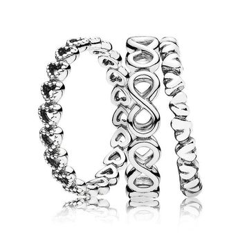 New 925 Sterling Silver Ring Linked Infinite Eternal Love Ring Stack Rings For Women Wedding Party Gift Fine Pandora Jewelry